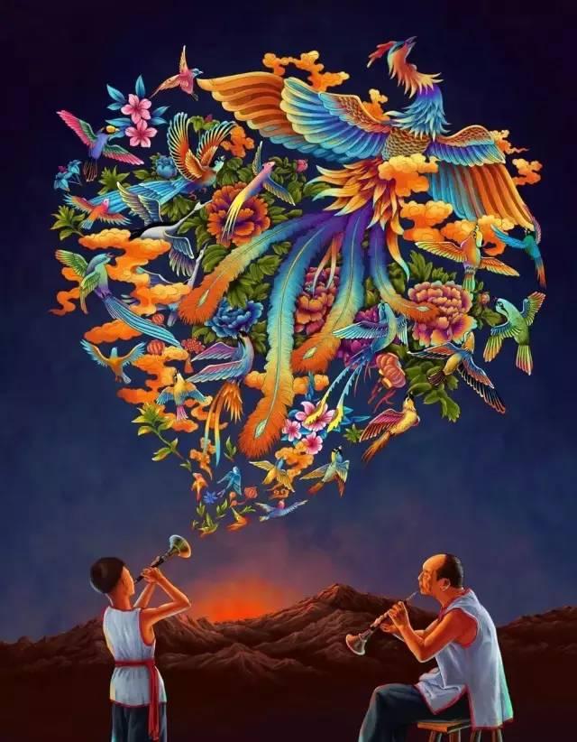 他画完「百鸟朝凤」海报,又画了张细节震得你发麻的作品