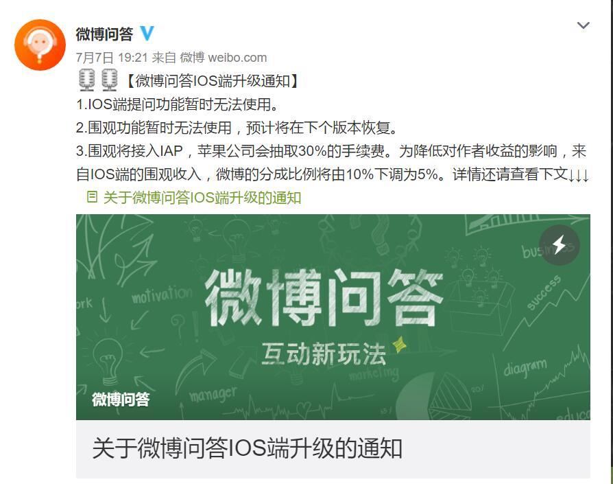 微博妥协,给苹果30%分成;贾跃亭跑了,乐视大厦遭供应商围堵